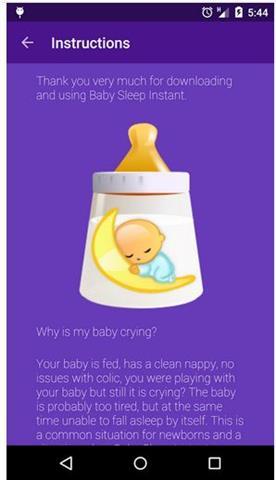 bebek uyutma sesleri bilgi ekranı
